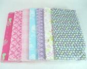 Set of Seven Flannel Burp Cloths Girl Colors