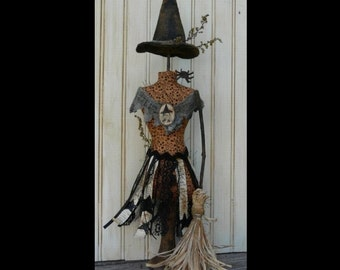 Halloween Witch Mannequin Dress Form Pattern PDF - Pincushion Pin Keep email primitive pinkeep cushion