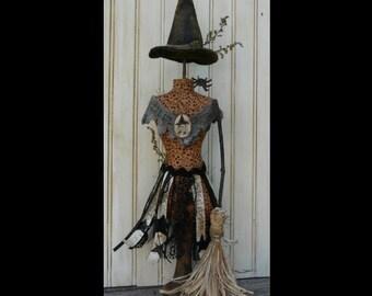 Halloween Witch Mannequin Dress Form Pattern PDF - Pincushion Pin Keep email primitive pinkeep cushion