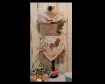 Mannequin Dress Form PDF Pattern - Pincushion Pin Keep email primitive pinkeep cushion doll needles