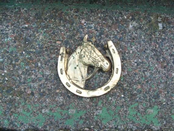 Vintage Brass Horse Horseshoe Door Knocker