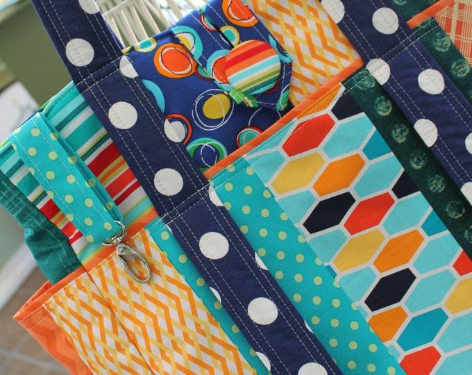 Big Colorful Patchwork Travel Teacher Tote Bag
