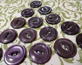 15 Purple Buttons Vintage