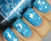 Snow Much Fun Light Blue Snowflake Holiday Polish-  0.5 oz Full Sized Bottle