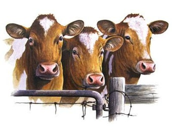 Cattle: Three BROWN and WHITE COWS on One 16 Inch Square Fabric Panel to Sew. Actual picture is approx 7 x 11 inches on white background.