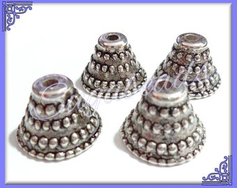 30 Antique Silver Bell Bead Caps 10mm x 14mm Acrylic w Metal Look and Feel - Bead cap ends