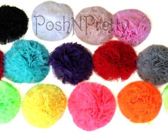 Five 3 inches Chiffon Puffs - CHOOSE Colors