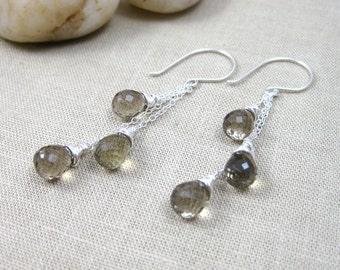 Smoky Lemon Quartz Chain Earrings Sterling Silver Dangle Earrings Lemon Quartz Smoky Quartz Sand Brown Gemstone Earrings - City Lights