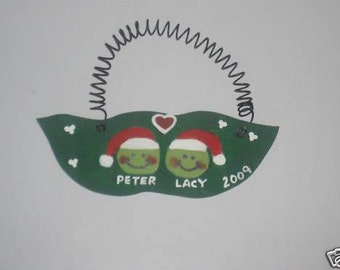 Pea Couple Christmas Ornament - Personalized