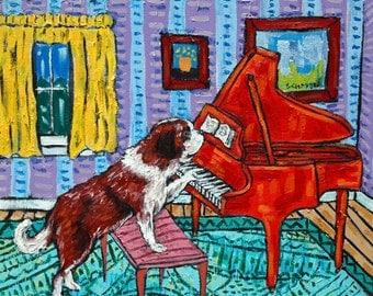 saint bernard dog piano art tile coaster gift animals impressionism artist gift new