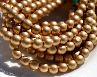 Matte Gold 6mm Round Czech Glass Beads   30