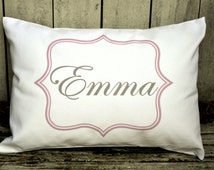 Personalized baby pillow, Newborn gift, girls pillow name pillow pink and grey baby gift idea