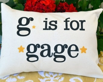 Personalized baby pillow, decorative pillow, stars, hearts, Newborn gift, baby boy pillow, kids name pillow, baby girl, new baby - gage-