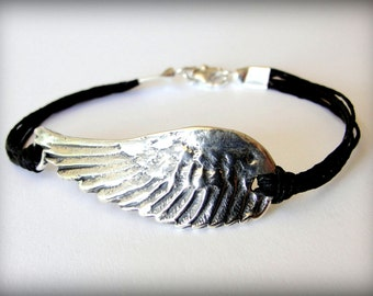 Angel Wing bracelet, Flight, Bird Wing, Sterling Silver Angel Wing, boho jewelry, festival, Christmas Gift, gift for woman
