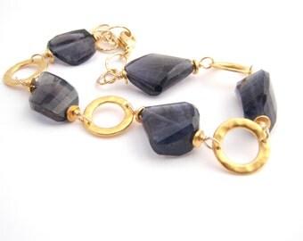 Iolite Nugget Bracelet, Gold, Indigo Blue, Classic, Geometric, Modern