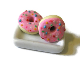 Pink Iced Donut Stud Earrings, Rainbow Sprinkles, Miniature Food Polymer Clay Jewelry