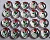 Hand painted glass gems party favors art weddings long stemmed  RED ROSE ROSES