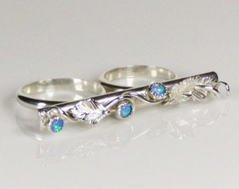 Sterling silver double finger ring with blue lab opals, statement, 2 finger ring, gift