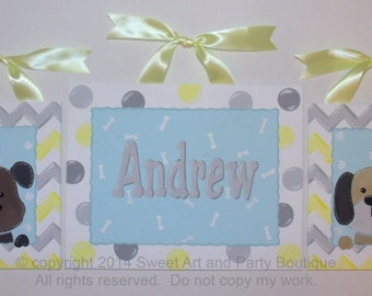 Puppy dog Custom canvas 3 piece set name sign wall art paw print children decor yellow gray white dots chevron blue nursery stripes dots