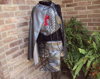 Crusader chest plate vest, boot covers, cape,  childrens size 8 - 10, halloween costume