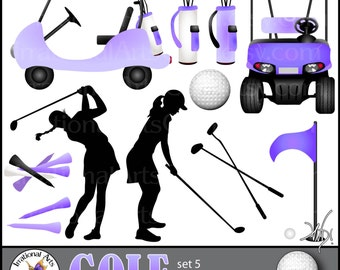 GOLF set 5 PURPLE INSTaNT DOWNLOaD digital clipart graphics 11 png files including 2 Golf carts silhouettes club ball tees flag bag