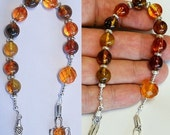 Catholic Open ROSARY CHAPLET Cognac genuine Amber  & Sterling Silver