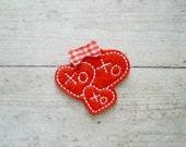 Heart Trio Felt Appliques, Heart With XOXO Embroidered Appliques, Valentine Appliques, Set of 4 Heart Appliques