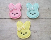 Bunny Felt Appliques, Bunny Embroidered Appliques, Easter Appliques, Set of 3 Bunny Appliques