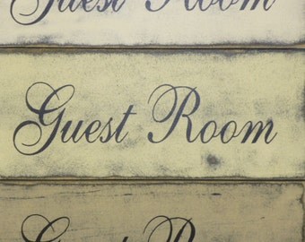 GUEST ROOM SIGN / shabby guest room / wood guest room sign / cottage guest room / hand painted sign / guest cottage / guest house sign