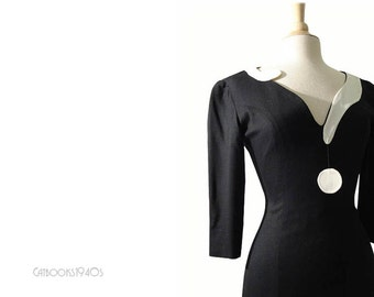 Vintage Moschino Question Mark Dress // 80s Black Moschino Couture Micro Mini Dress XS