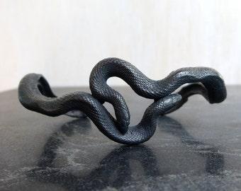 Snake Bracelet Sterling Silver Cuff Black Silver C&S