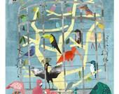 Zoo Birds - 11x14 Archival Print - art poster - wall decor - children's wall art - nursery poster