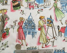 "SPRINGTIME IN PARIS 1.7 Yds Retro Michael Miller France Quilt Fabric French Eiffel Tower - 2 Pieces (35"" and 26"" long)"