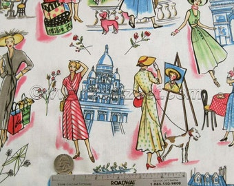 Retro Michael Miller SPRINGTIME IN PARIS France Quilt Fabric by the Yard French Eiffel Tower