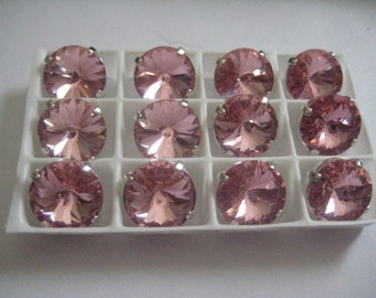 Lot of 3 12mm Light Rose Rivoli Swarovski Rhinestones in Sew on Settings