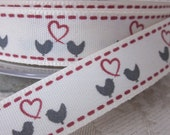 Ivory and Red Lovebirds  Ribbon