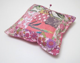 Hearts and Flowers Pink Patchwork Pincushion