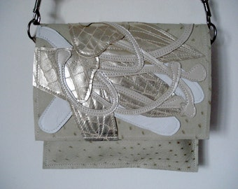 Handmade small City Bag in cream ostrich embossed leather with  metallic cream Lily applique
