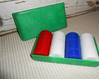 Vintage Green Marble Celluloid Case with Plastic Poker Chips