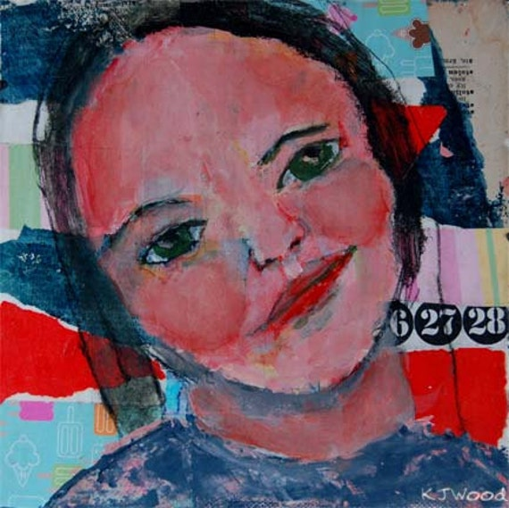 Acrylic Portrait Painting, You Cast A Spell on Me 8x8 Collage, Mixed Media, Canvas, Original, Mixed Media, Girl, Orange, Blue