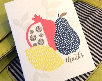 Thank You Fruit Card - Letterpress