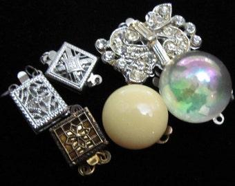 6 Gorgeous Vintage Filigree and Rhinestone Clasps