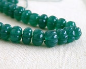 Green Onyx Gemstone Round Carved Melon Ball Emerald Green 8.5 to 10.5mm Full Strand 60 beads