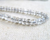 Rutilated Quartz Gemstone Black Tourmalinated Faceted Rondelle 3.5 to 4mm 130 beads Full strand