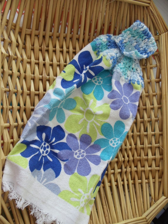 Kitchen towel with crocheted topper hawaiian flowers blue