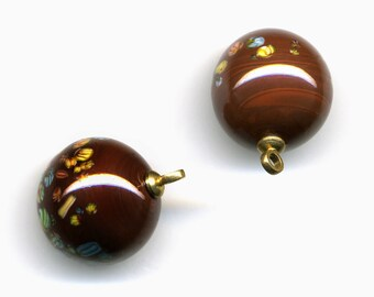 Vintage Brown Millefiori Beads / Buttons 14mm Glass w/ Metal Loops Made in Japan