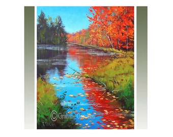 Autumn canvas Painting Red Fall trees Painting River Landscape Realistic Art by Graham gercken