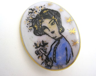 Vintage Brooch - Porcelain Hand Painted - Cameo Style