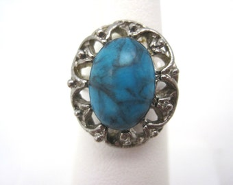 Vintage Turquoise Ring - Adjustable - Act II Faux Turquoise Costume Jewelry
