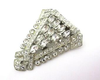 Vintage Art Deco Dress Clip - Rhinestone Art Deco Jewelry